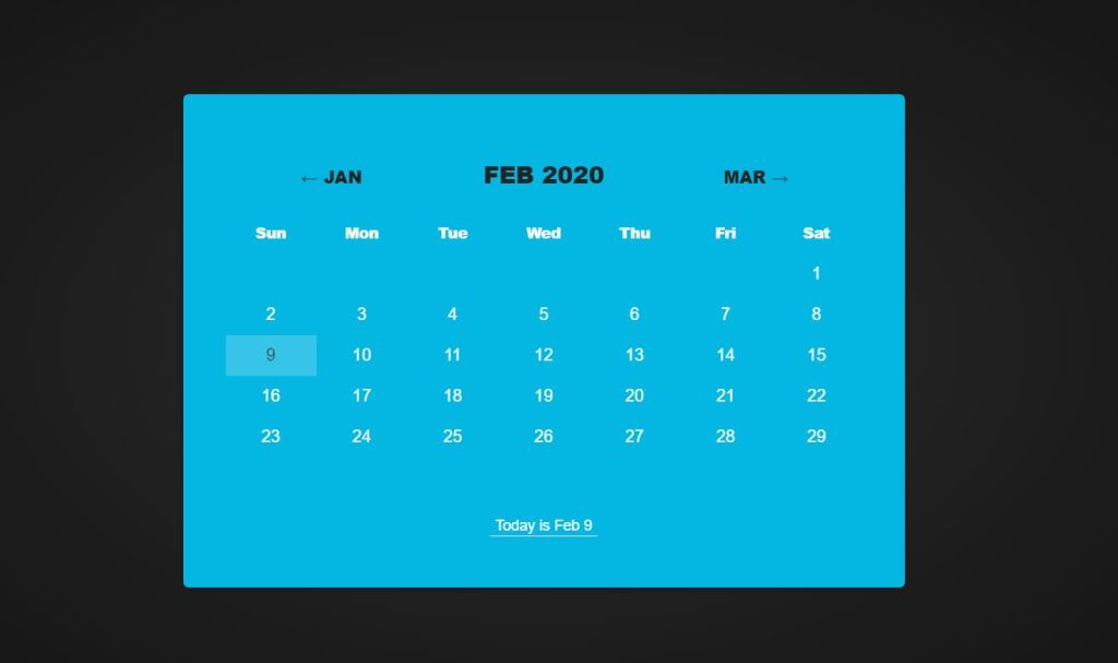 Awesome JavaScript/JS Calendar