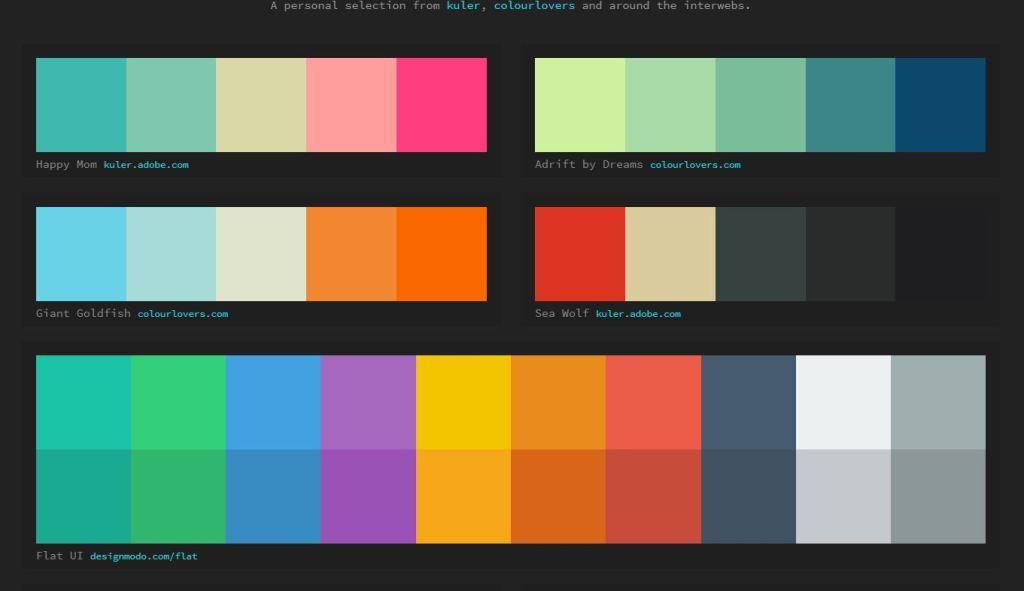 JavaScript/JS Color Palette Swatches with Hex Values