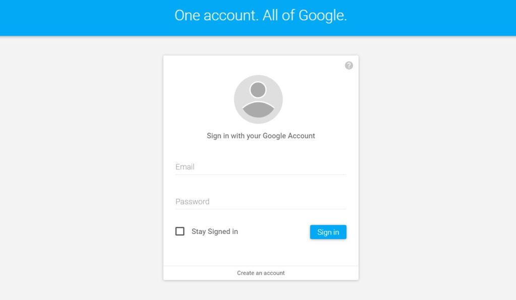 Material Design Google Account Sign in Form