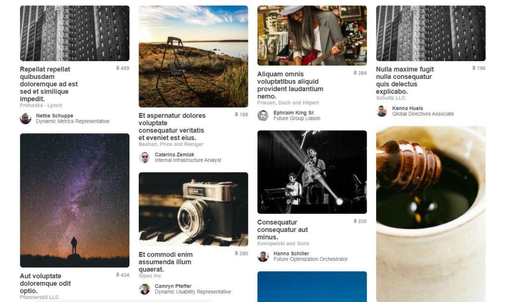 Pinterest Flow JavaScript/JS Masonry Example