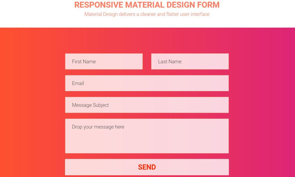 JavaScript/JS material design contact page