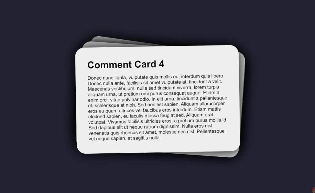 Responsive JS Comment Cards Example
