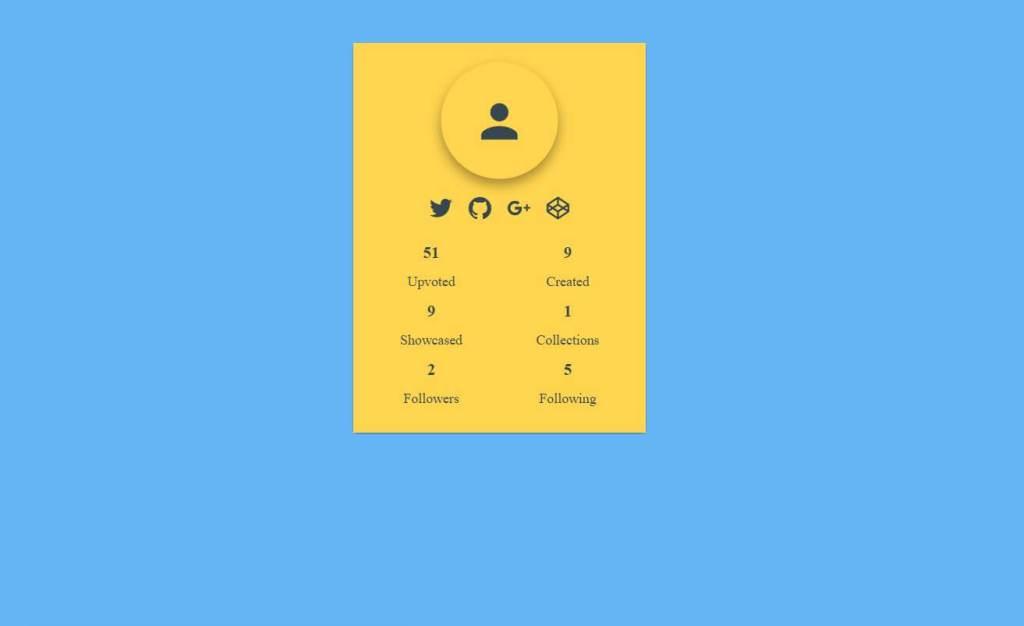 JavaScript Materialup Profile Card