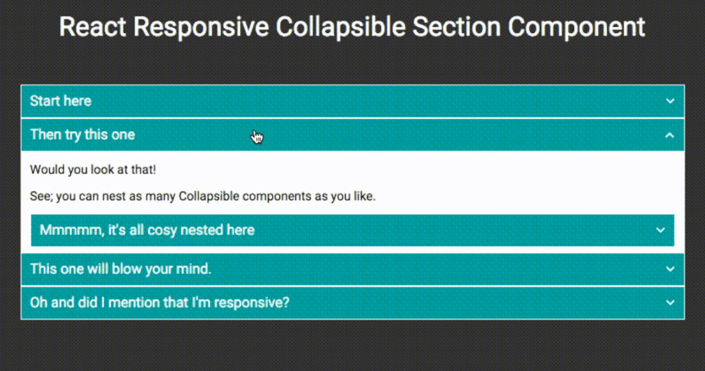 React Responsive Collapsible Section Component menu