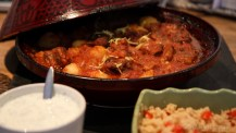 Among the equipment in Virginie's kitchen was a tagine dish, which of course had to be tested: lamb, apricots, tomatoes, lemon…