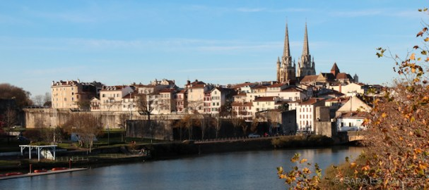 Central Bayonne, with the towers of Cathédrale Sainte-Marie from the 12th and 13th centuries and part of the 17th century wall.