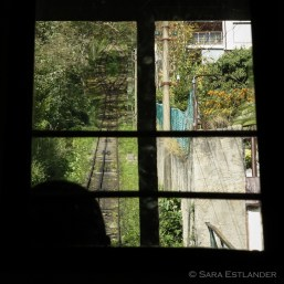 Taking the old funicular up to the amusement park on the hillside above San Sebastian.