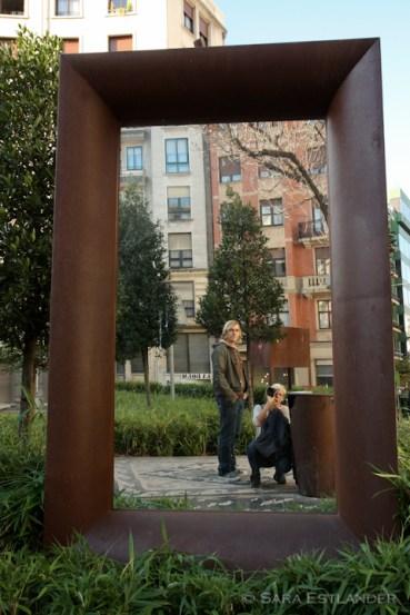 Environmental art in a park in Bilbao.