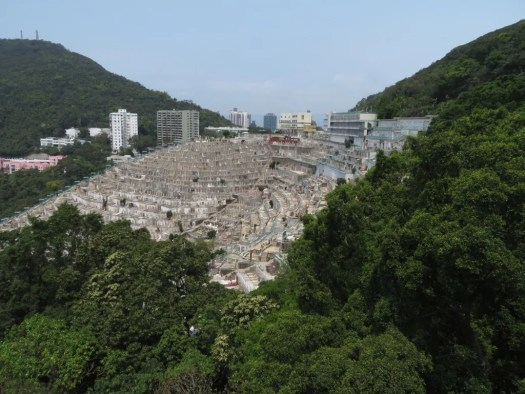Concrete graveyard on a hillside in Hong Kong.