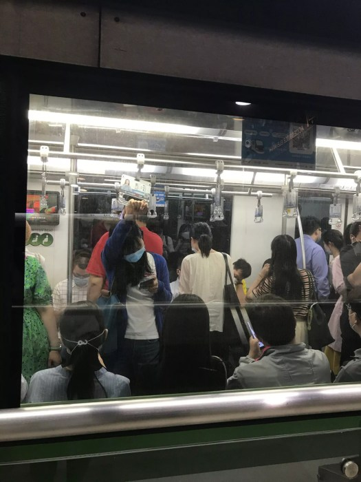 crowd on Shanghai metro
