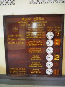 Horaire des trains en gare de Kandy