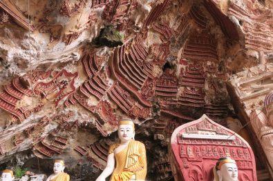 Sculptures sur les parois de Yathaypyan Cave