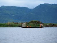 Ballade sur le lac Inle, ici un pécheur avec sa nasse