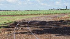 Les rails de chemin de fer, avec des plantatons de cannes à sucre au loin
