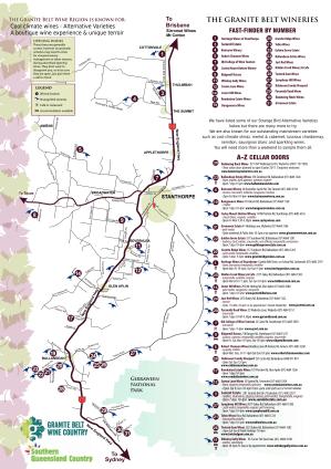 """Carte des producteurs de vin de la """"granite belt"""""""