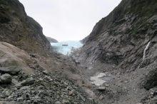 Vue sur le glacier Franz Josef depuis la plateforme faite pour les touristes.