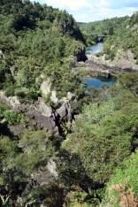 La station hydroélectrique de Aratatia rapids avant le laché d'eau (en aval)