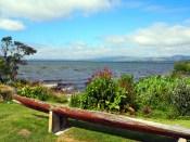 Dans le village Maori de Ohinemutu, vue sur le lac de Rotorua (au premier plan une pirogue)