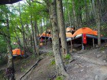 Les tentes déjà montées qu'il est possible de réserver à prix d'or. Randonnée vers la base des Torres, Parc National Torres Del Paine