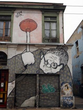 Dans les rues de Valparaiso, ville haute