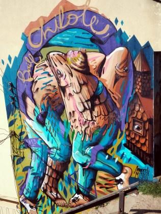 Fresque représentant la sur-exploitation des poissons mais aussi des humains sur l'île de Chiloe, au Chili