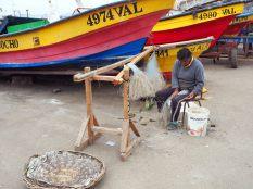 Un pécheur réparant ses lignes, Valparaiso
