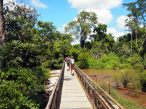 Ponton passant au dessus des chutes d'Iguazu (salto bossetti), coté Argentin