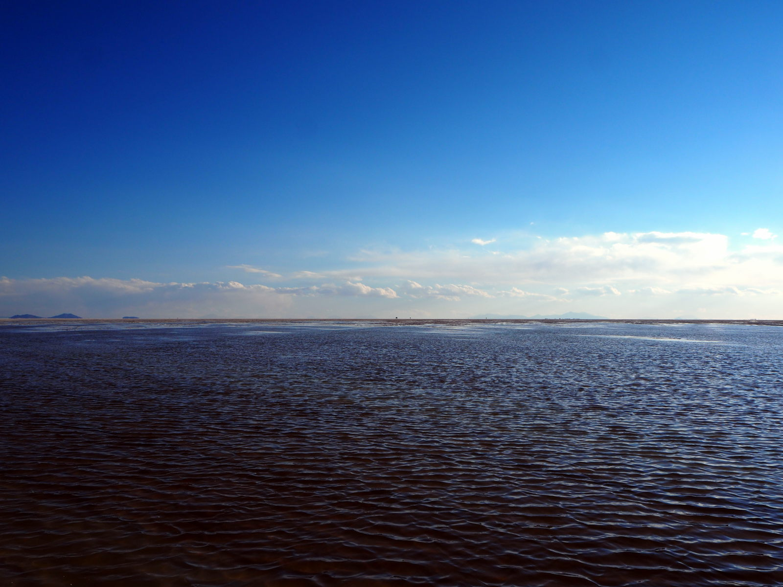 Sur le salar d'Uyuni, partièlement inondé