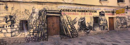 Panorama d'une fresque pour une association de mineurs à Potosi