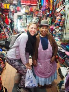 Une des rares photos que nous avons avec une cholita (elles refusent souvent qu'on les prenne en photos)