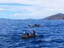 Barques sur le lac Titicaca
