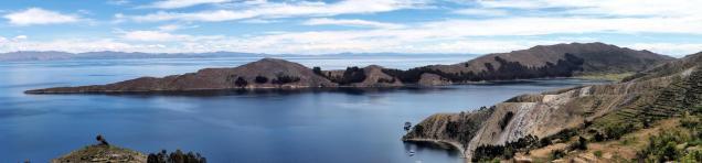 Panorama depuis le haut de l'Isla del Sol