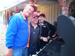 """The """"Grilling Tent Crew"""" of Don, Don and Candi getting ready for another busy night of preparing burgers and dogs."""