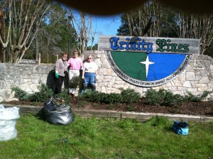 Judy, Jenny and Kay , after considerable efforts, and the new looking landscape at the main entrance.