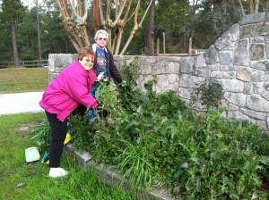 The ladies did a lot of landscaping.  Judy and Kay look over the main entrance task.
