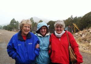 Arlene, Pam and Carlie going for a walk after breakfast at the lodge.