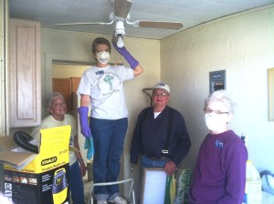 Lots of cleaning again this month. Judy, Jenny, and Janet cleaning.  Bruce doing filters.