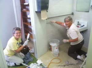 The ladies did a lot of painting.Jenny and Agnes painted.