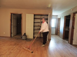 Nancy spent a lot of time doing cleaning of the new housing building.