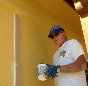 Bill painted almost all of the exterior of the buildings.