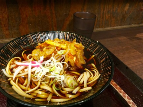 Veggie tempura and udon noodles - such a cheap dinner, enter a noodle house and enter your order into the front door machine