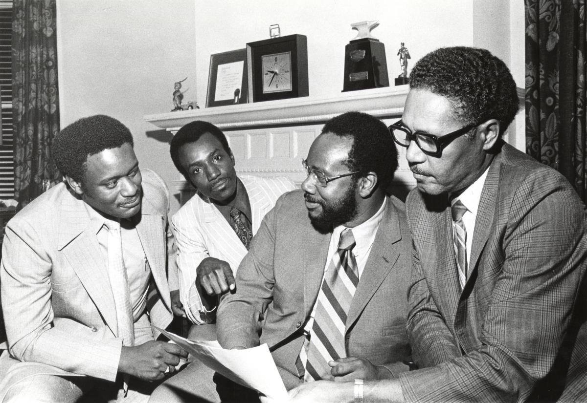 From left to right: Laplois Ashford, an unidentified man, Thomas Todd, and Vernon Jarrett