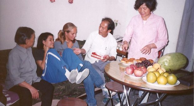 The author at her family's Beijing home (from L-R, host grandmother, sister, Solimine, father, and mother) during Mid-Autumn Festival, 1996.