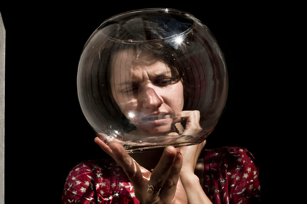 Woman in a fishbowl