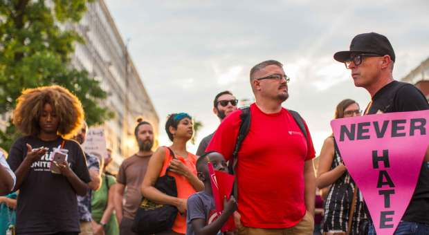 Demonstrators participate in a march and rally against white supremacy August 16, 2017 in downtown Philadelphia, Pennsylvania.