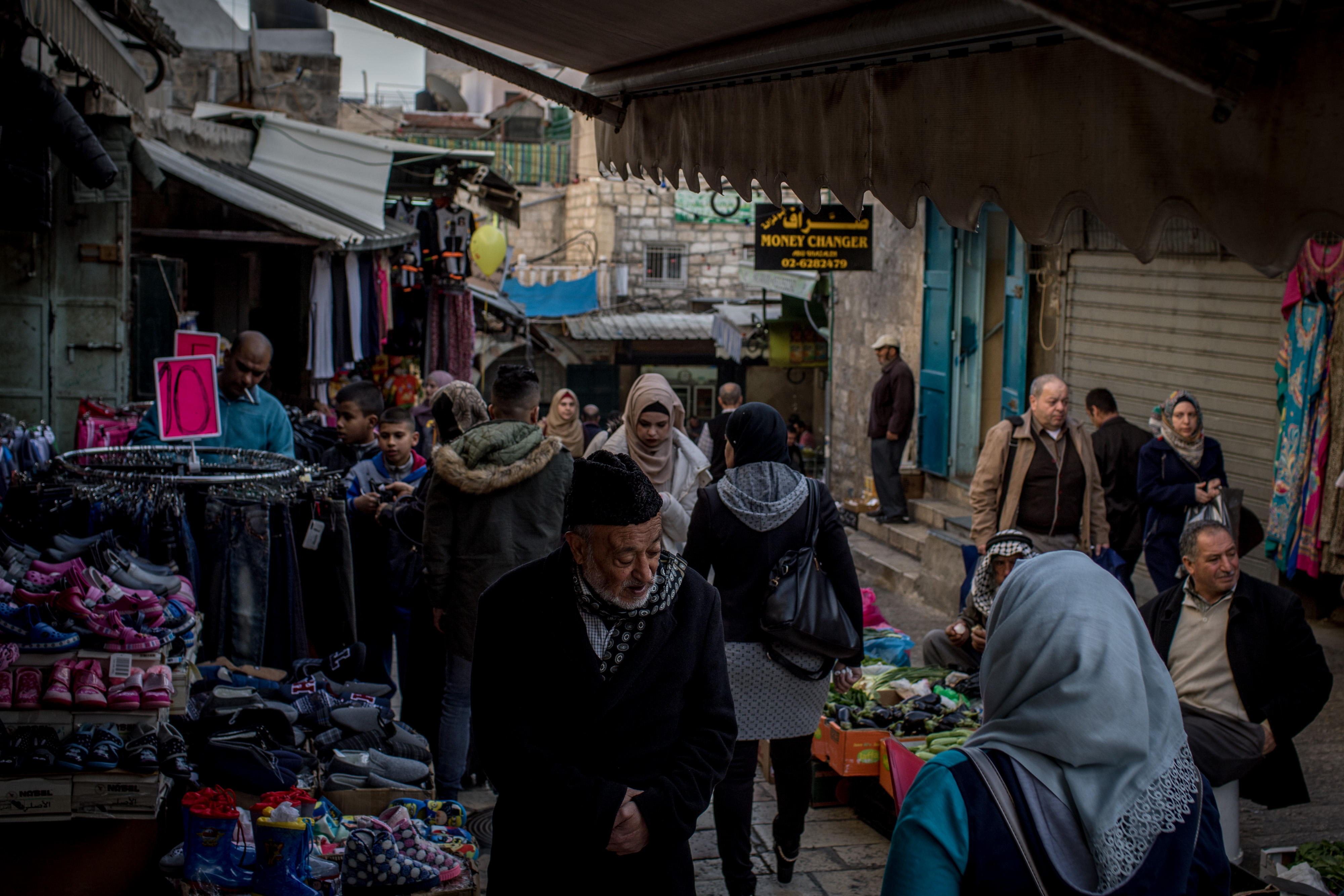 People shop in the Muslim Quarter of the Old City on December 10, 2017 in Jerusalem, Israel.