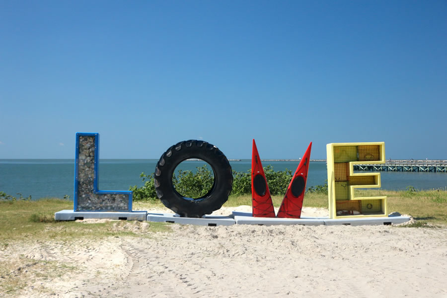 The LOVE sign in Cape Charles, VA at the beachfront