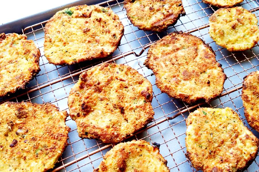 air fried eggplant slices on a baking rack