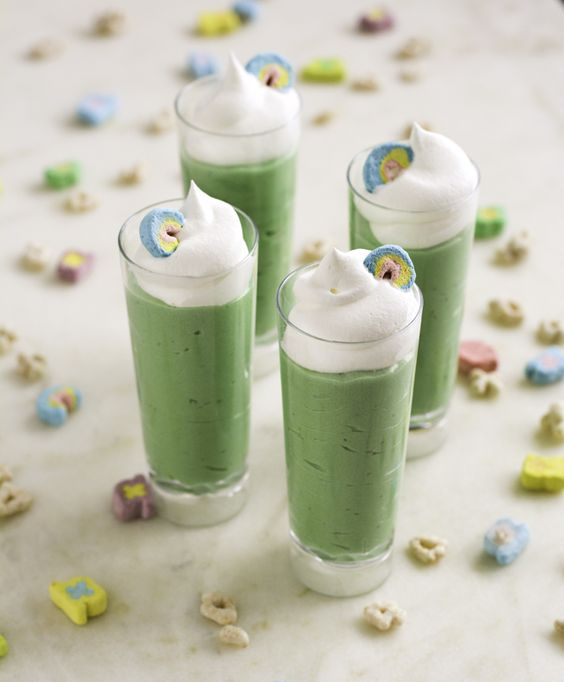 Lucky Charms Pudding Shots for St. Patrick's Day