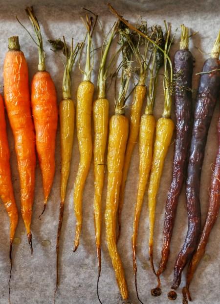 A bunch of roasted rainbow carrots.